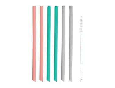 Set 6 Silicone Straight Straws