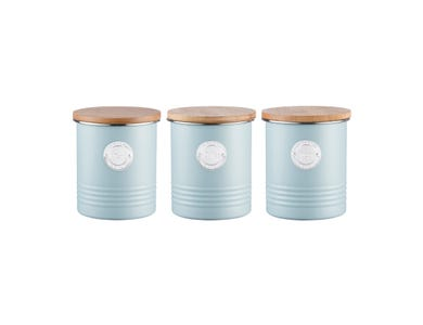 Living Blue Tea, Coffee & Sugar Canisters