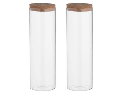 Monochrome Set 2 1800ml Storage Jar Cork Lid