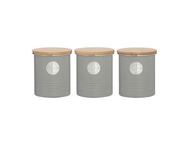Living Grey Set Of 3 Tea/Coffee/Sugar Storage
