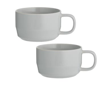 Cafe Concept Set Of 2 Grey Cappuccino Cups