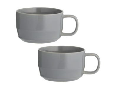 Cafe Concept Set Of 2 D/Grey Cappuccino Cups
