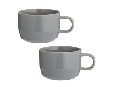 Cafe Concept Set Of 2 D/Grey Flat White Mugs