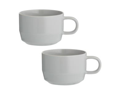 Cafe Concept Set Of 2 Grey Flat White Mugs