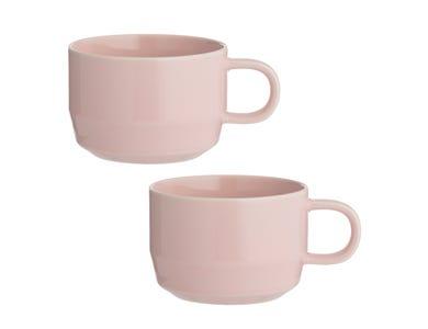 Cafe Concept Set Of 2 Pink Flat White Mugs