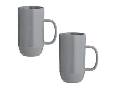 Cafe Concept Set Of 2 Dark Grey Latte Mugs