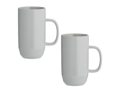 Cafe Concept Set Of 2 Grey Latte Mugs 550ml