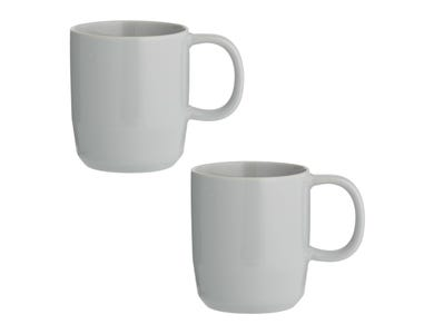 Cafe Concept Set Of 2 Grey Mugs 350ml