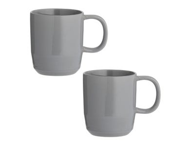 Cafe Concept Set Of 2 Dark Grey Mugs 350ml